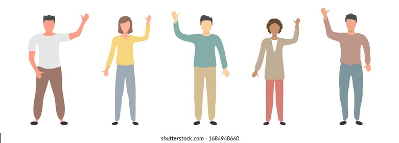 Set of different nationality people greeting gesture. Different nations representatives waving hand. Men, women say hello. Vector flat illustration isolated on white. African, asian and europian human