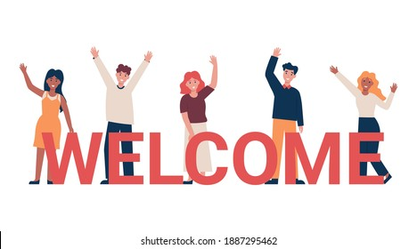Set of different nationality people greeting gesture, waving hand. Concept new team member. Flat vector cartoon illustration.