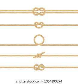 Set of different Nautical rope knots. Decoration elements on white background. EPS 10