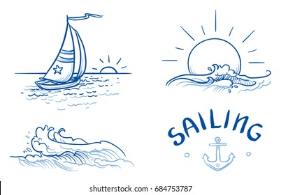 Set of different nautical summer icons, like sailing boat, sunset and splashing waves with typography. Hand drawn line art doodle vector illustration.