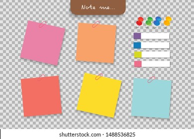 Set of different note papers with clip, pushpin, paper tag on transparent background.