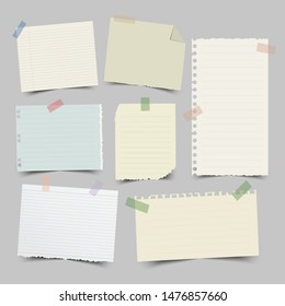 Set of different note papers on isolated background.Vector illustration.