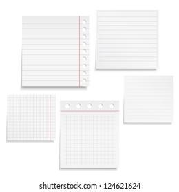 Set of different notebook paper, vector eps10 illustration
