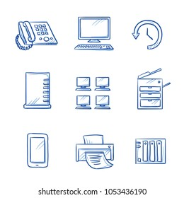 Set with different office IT icons, as phone, computer, printer, scanner, server, backup, desktops. Hand drawn line art cartoon vector illustration.