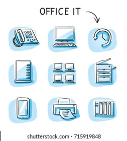 Set with different office IT icons, as phone, computer, printer, scanner, server, backup, desktops. Hand drawn sketch vector illustration, blue marker style coloring on single blue tiles.