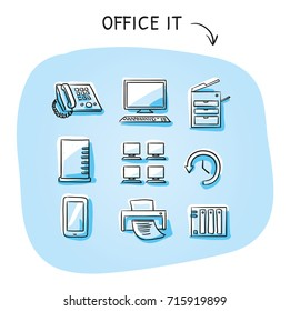 Set with different office IT icons, as phone, computer, printer, scanner, server, backup, desktops. Hand drawn sketch vector illustration, blue marker style coloring on plain background.