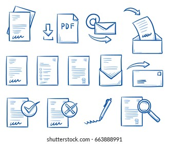 Set with different office paper icons, as contract, form, letter, email, for work-flow charts. Hand drawn line art cartoon vector illustration.