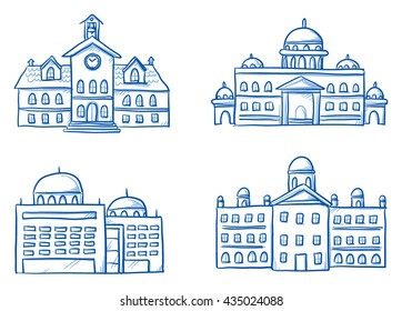 Set of different official buildings, central station, city hall, court, seat of government. Hand drawn cartoon vector illustration.
