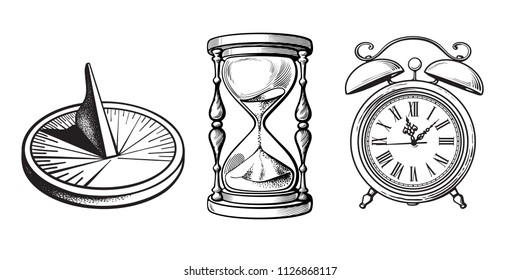 Set of different old clocks. Sundial, Hourglass, Alarm clock. Black and white hand drawn sketch vector illustration isolated on white background.