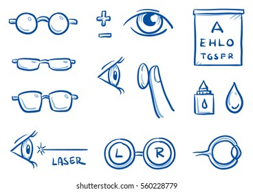 Set of different optometry icons, with eyes and glasses for medical info graphics. Hand drawn line art cartoon vector illustration.