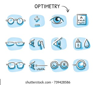 Set of different optometry icons, with eyes and glasses for medical info graphics on blue tiles. Hand drawn cartoon sketch vector illustration, marker style coloring.