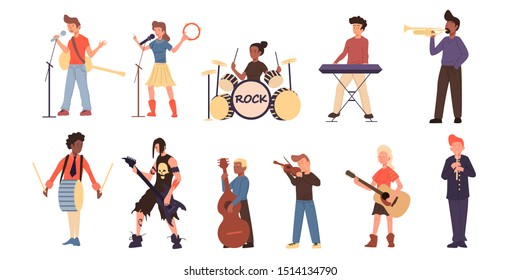 Set of different people different nationality playing different music instruments. Guiatar, acustic, metal, drum, keyboard, sing and viola. Flat color vector illustration.