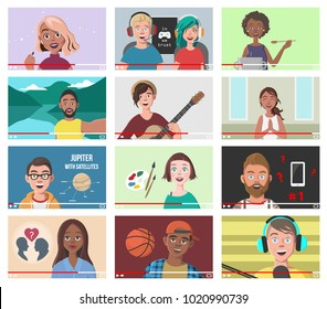 Set Of Different People On Internet Videos. Beauty Blogger. Gamers. Yoga Blogger. Cooking Blog. Music Covers. Travel Vlog. Science Nerdy Vlog. Artist Tutorials Vlog. Vector Illustration.