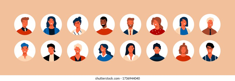 Set different person portrait of big diverse business team vector flat illustration. Collection of people avatars isolated. Bundle of joyful smiling colleagues. Man and woman faces at round frame