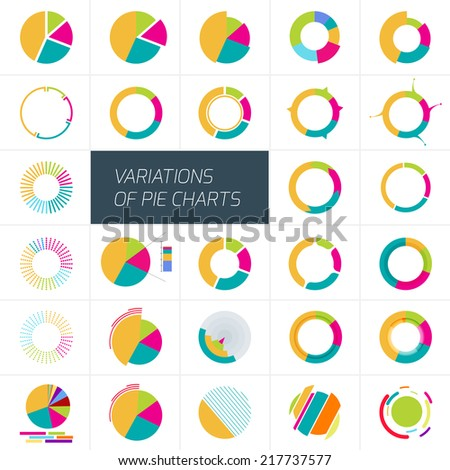 Set Different Pie Charts Isolated On Stock Vector Royalty Free