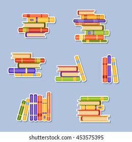 Set of different piles of cute books. Love reading. Cartoon school illustration. Library background