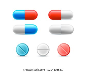 Set of different pills, capsules, and tablets. Vector realistic colored medical icons.