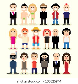 Set of different pixel people, vector illustration
