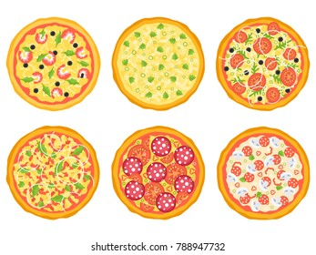 Set of different pizza. Vector illustration
