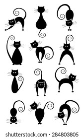 Set of different pose black cats. Black cat silhouette collection. Simple graphic design, vector art image illustration, isolated on white background, eps10