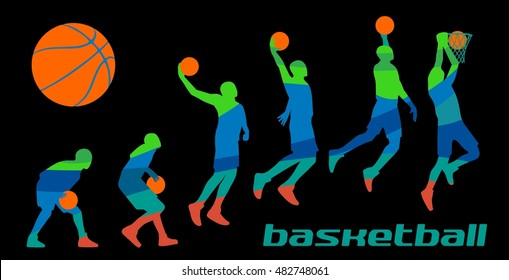 Set different poses basketball players in silhouettes. Vector abstract polygon color flat illustration isolated on black background