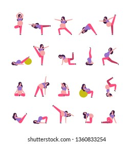 set different poses pregnant woman doing yoga exercises girl working out fitness pregnancy healthy lifestyle concept female cartoon character full length collection white background