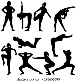 set of different poses for woman silhouette for sport. isolated on white background