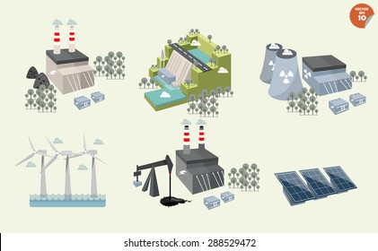 set of different power plant, graphics design of different power plant renewable and non-renewable energy sources: solar, wind, water,hydro power,petroleum, coal, geothermal, gas, nuclear and biofuel.