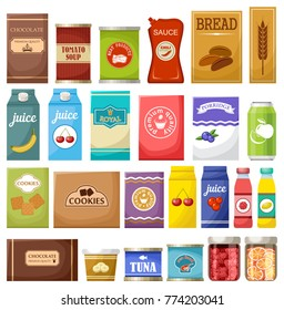 Set of different products. Vector illustration