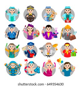 Set of different professions. Cartoon characters in circles. Vector images for your business and design. For postcards, board games and clothing