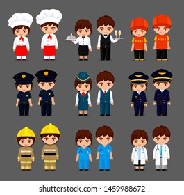 Set of different professions in cartoon style. Cute little girls and boys in various uniform: policeman, stewardess, pilot, chef, waiter, doctor, nurse, deliveryman, fireman. Vector illustration.