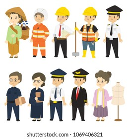 Set of different professions characters cartoon vector in flat style :  herbal medicine seller, firefighter, architect, builder, train driver, teacher, security guard, pilot, tailor