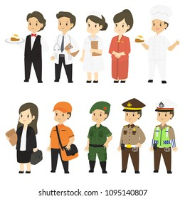 Set of different professions characters cartoon vector in flat style : waiter, doctor, nurse, stewardess, chef, lawyer, postman, army, police, traffic police
