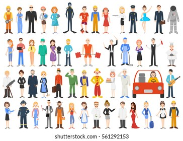 Set of different professions. People isolated on white background. Vector illustration.