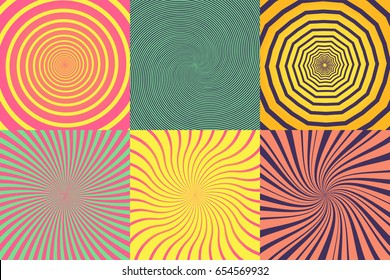 Set of different psychedelic spiral, vortex, twirl. Vector colorful backgrounds collection.