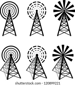 Set of different radio tower with waves