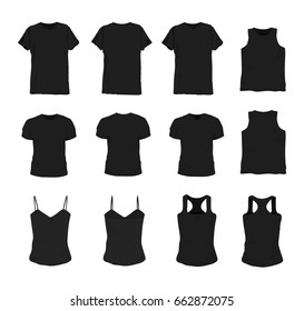 Set of different realistic black t-shirt for man and woman. Front and back view. Shirt sleeveless, short-sleeve, singlet, tank top. Vector illustration collection.