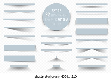 Set of different realistic shadow effects isolated on transparent background, for your modern design.