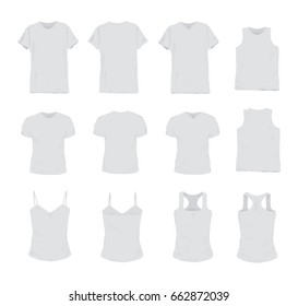 Set of different realistic white t-shirt for man and woman. Front and back view. Shirt sleeveless, short-sleeve, singlet, tank top. Vector illustration collection.