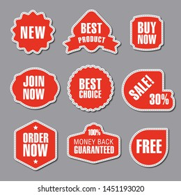 set of different red advertising and promotion badges, stickers and banners
