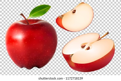Set of Different Red Apples Isolated on Transparent Background. Vector