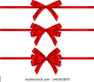 Set of different red bows with horizontal ribbon for holiday design isolated on white. Vector illustration