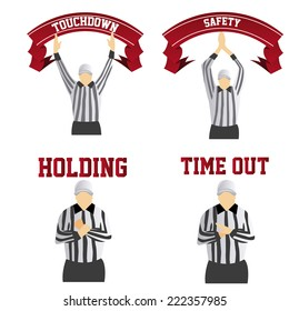 a set of different referee signals on a white background
