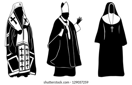 set of different religious people