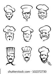 Set of different restaurant chefs in uniform for menu or another  design, also a logo idea. Jpeg version also available in gallery