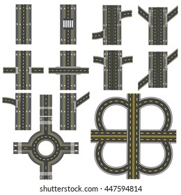 Set of different road sections with a circular motion. Transitions, turns and various intersections. series depicts the sidewalks, marked bicycle lanes. View from above. Vector illustration