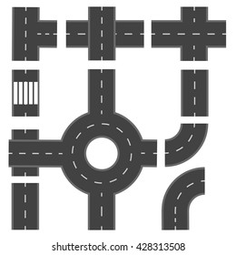 Set of different road sections. Vector illustration
