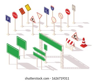 Set of different road signs isometric. Common warning signs symbols and road traffic regulatory. Flat 3d isometric icons road signs for infographic