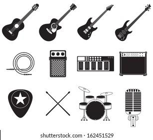 Set of different rock music equipment.