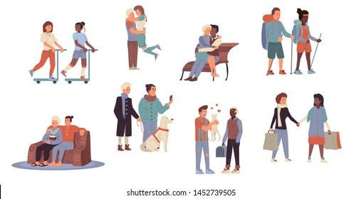 Set of different romantic couples. Collection of gay couples, lesbiand and traditional couples spending time together, walking on scooters, watching tv, hiking, shopping, pets. Cute flat vector char.